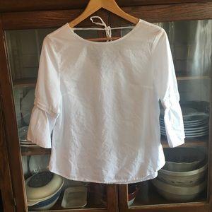 White Linen Bell Sleeve Top